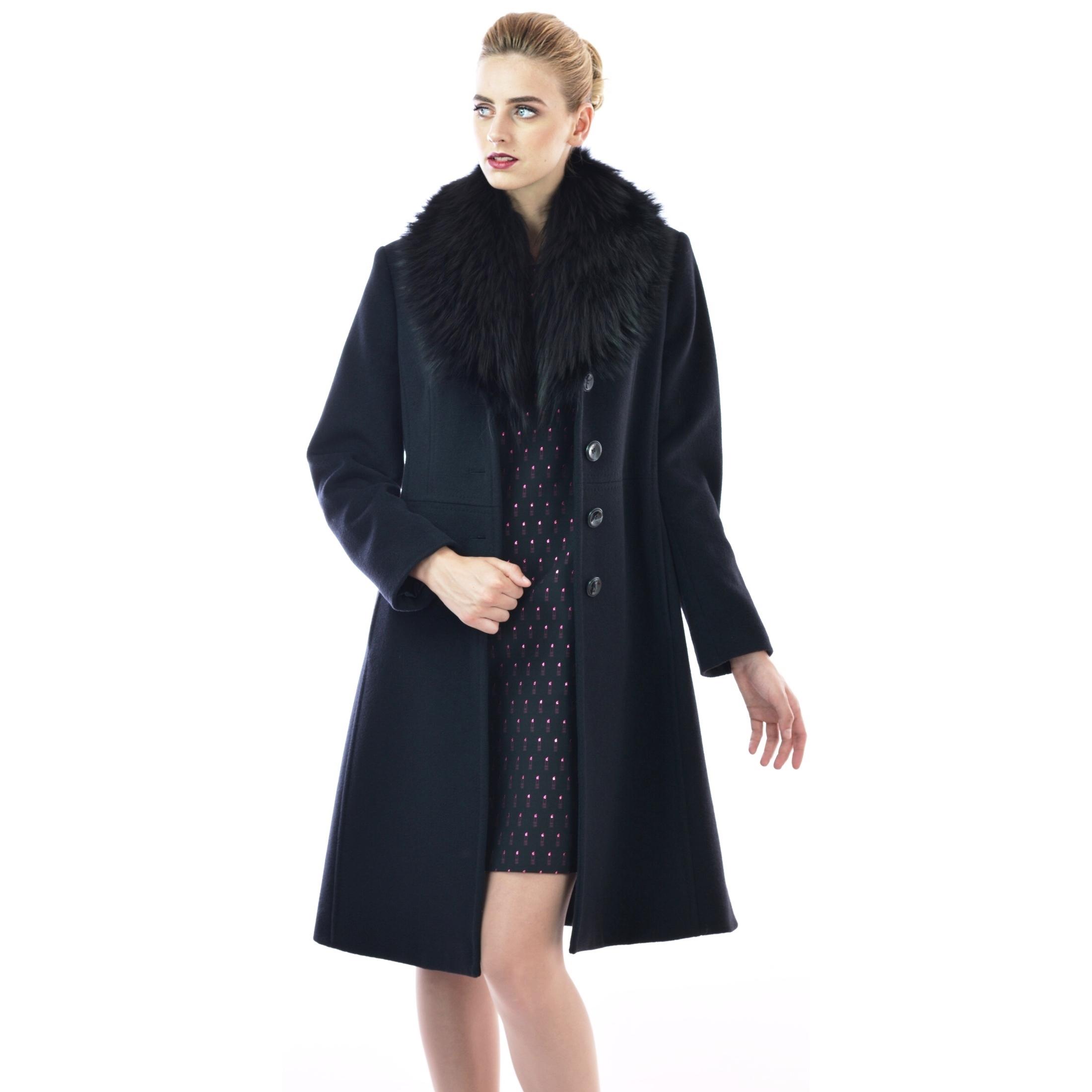 black coat with natural fur