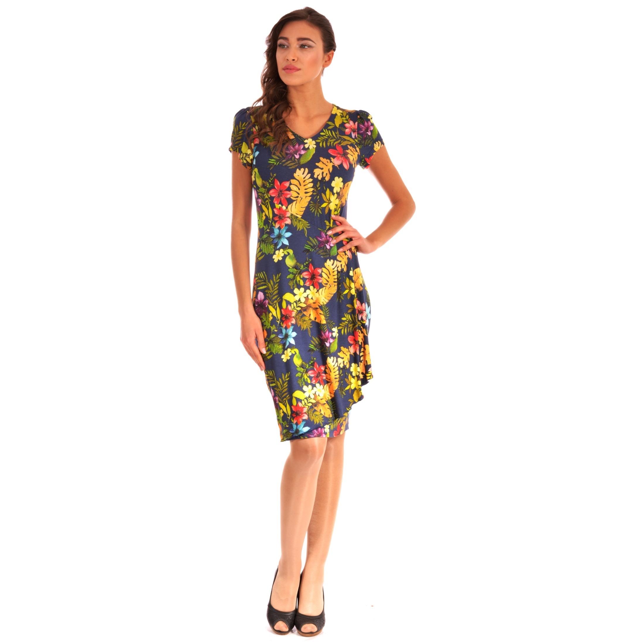 women's flowered dress lady m for spring-summer, lady m haljina sa cvijetovima za proljeće-ljeto
