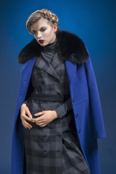 Lady M by Maria fashion company - blue high quality wool coat with natural fur