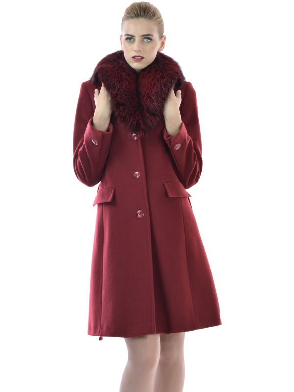 Womens coat bordeaux made of wool and cashmere with natural fur on collar - Lady M Marija modna odjeća - Maria Fashion company - Collection Autumn/Winter 2017-18