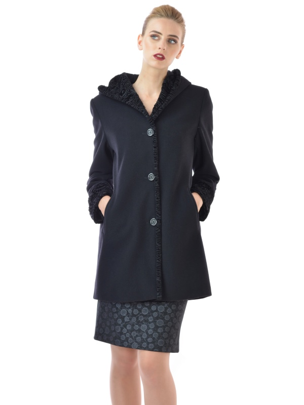 Lady M - Womens short coat made of wool with hood - Marija modna odjeća Kolekcija Jesen/Zima 2017-18