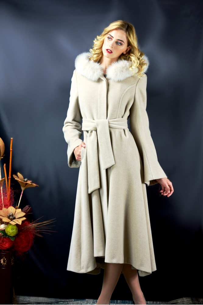 Lady M - Womens long beige coat with wool cashmere - Maria fashion company - Marija modna odjeca Collection Autumn/Winter 2017-18
