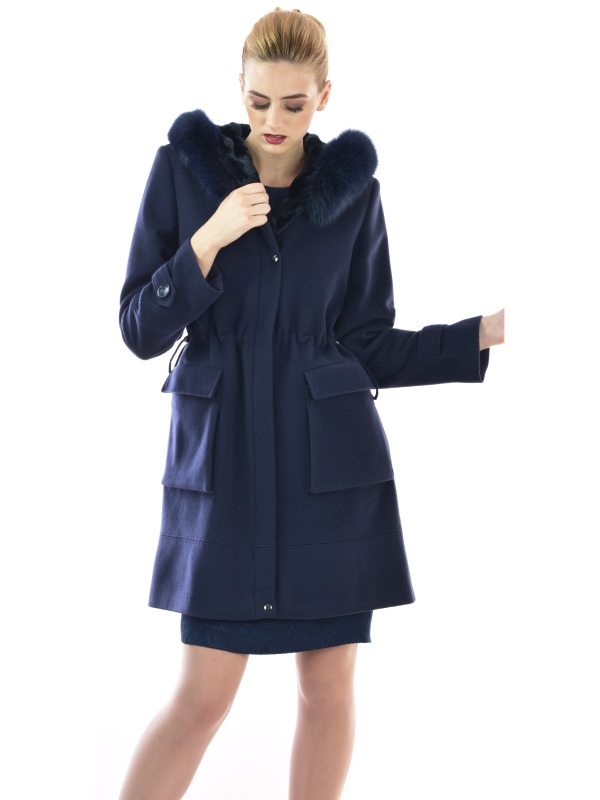 Womens parka modern dark blue coat made of wool and cashmere with natural fur - Lady M Marija modna odjeća - Maria Fashion company - Collection Autumn/Winter 2017-18