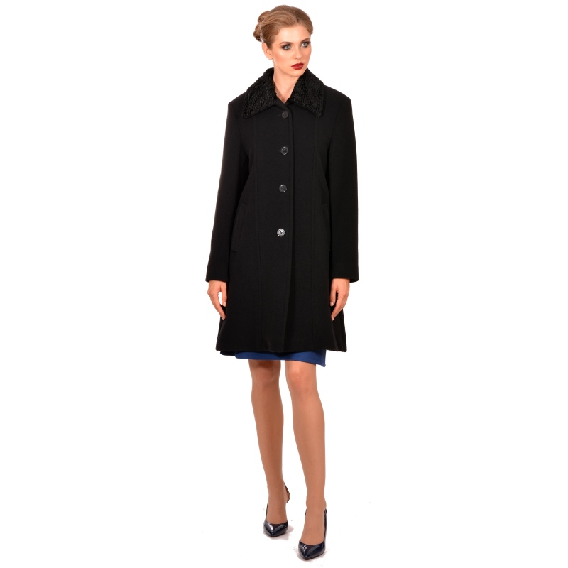 Womens short black wool coat - M WOMAN Marija modna odjeća - Maria Fashion company - Collection Autumn/Winter 2018-19