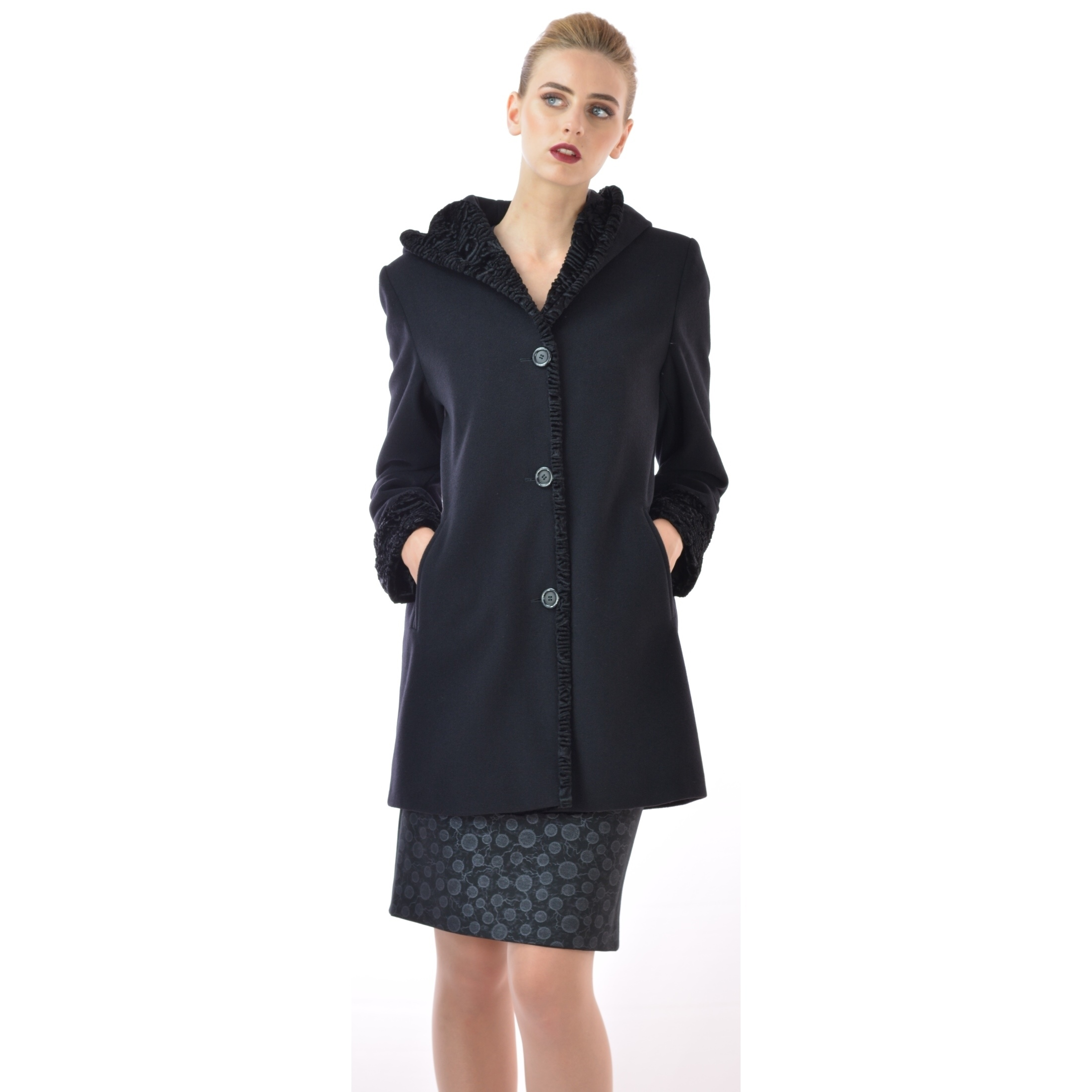 Women's black coat.