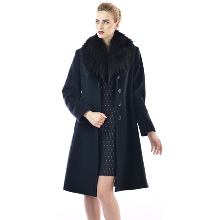 black coat with natural fur