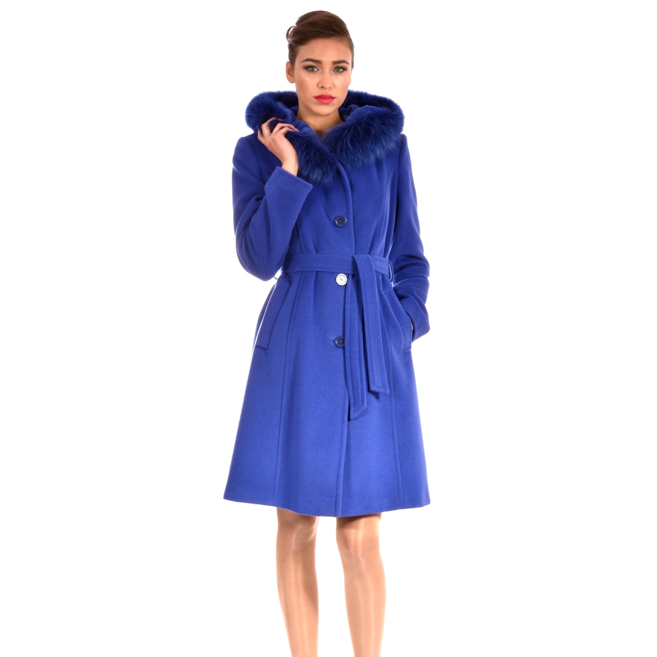 Blue women's coat made of wool and cashmere.