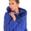 Blue wool cashmere women's coat with hood.