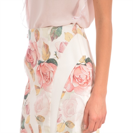 women's white skirt with flowers, ženska suknja bijela sa cvijetovima