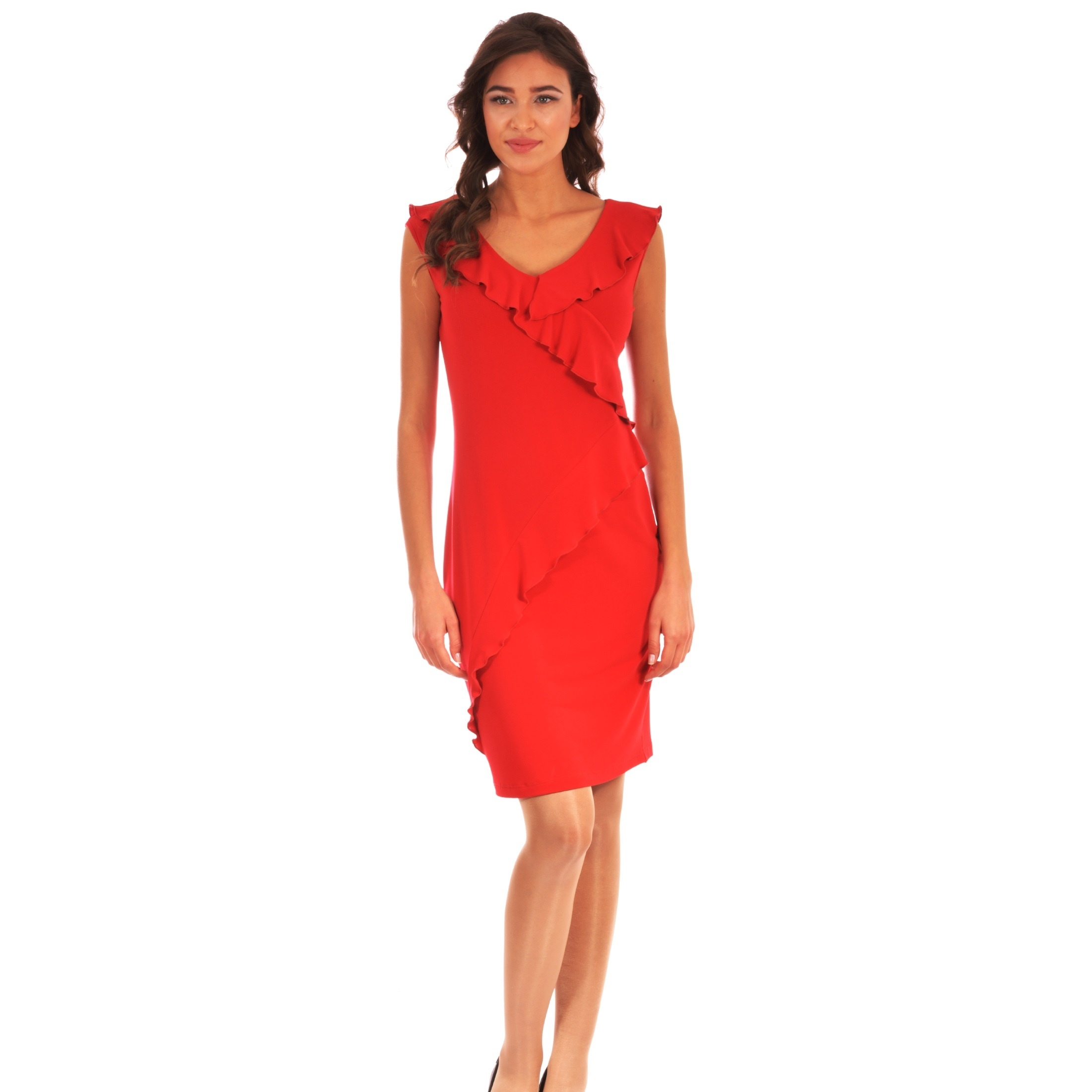 red women's dress lady m, crvena lady m haljina