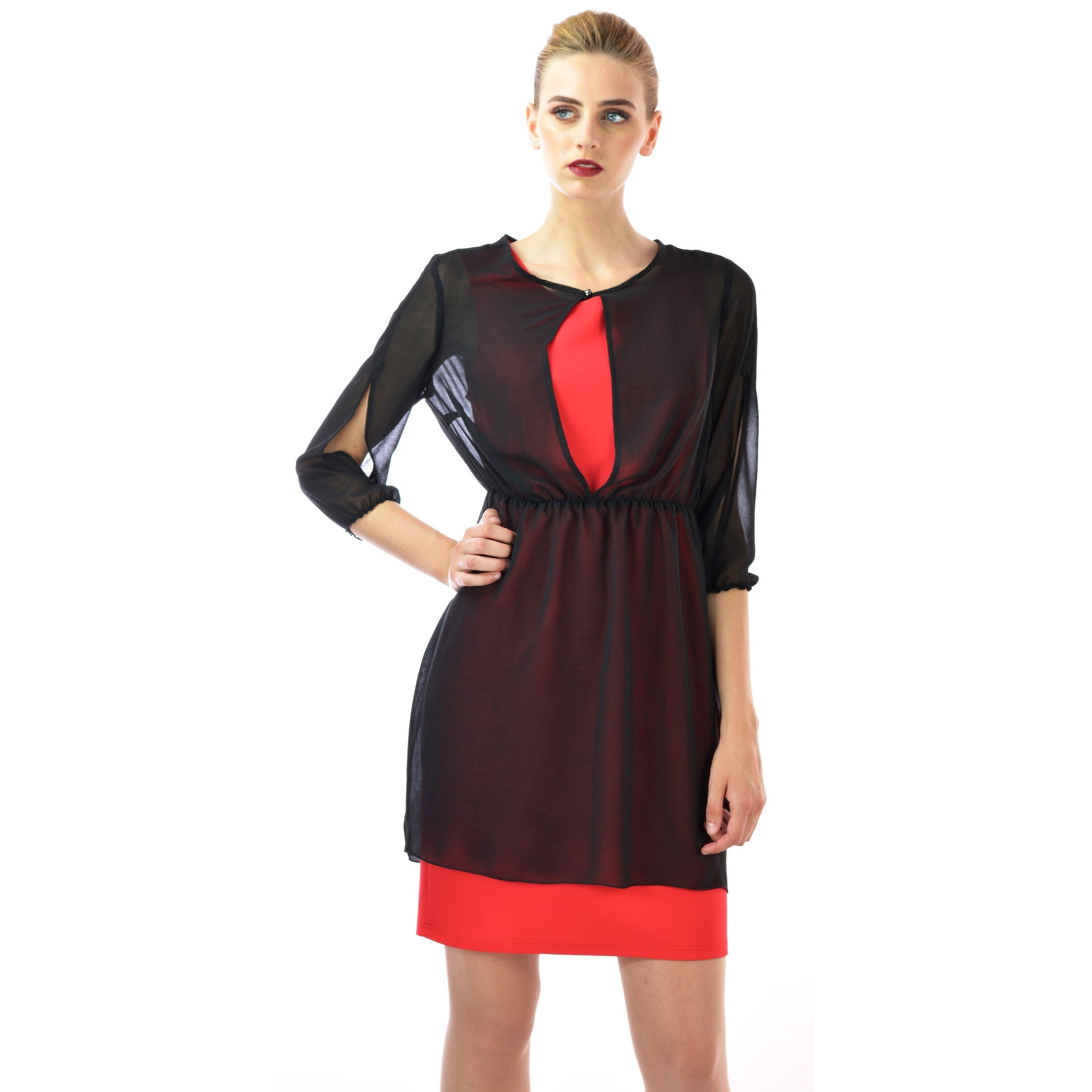 ženska crno-crvena haljina,women's black-red dress