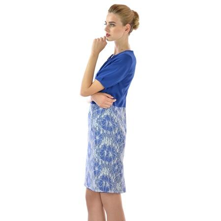 blue dress lady m with lace, ženska plava haljina sa čipkom lady m za proljeće-ljeto