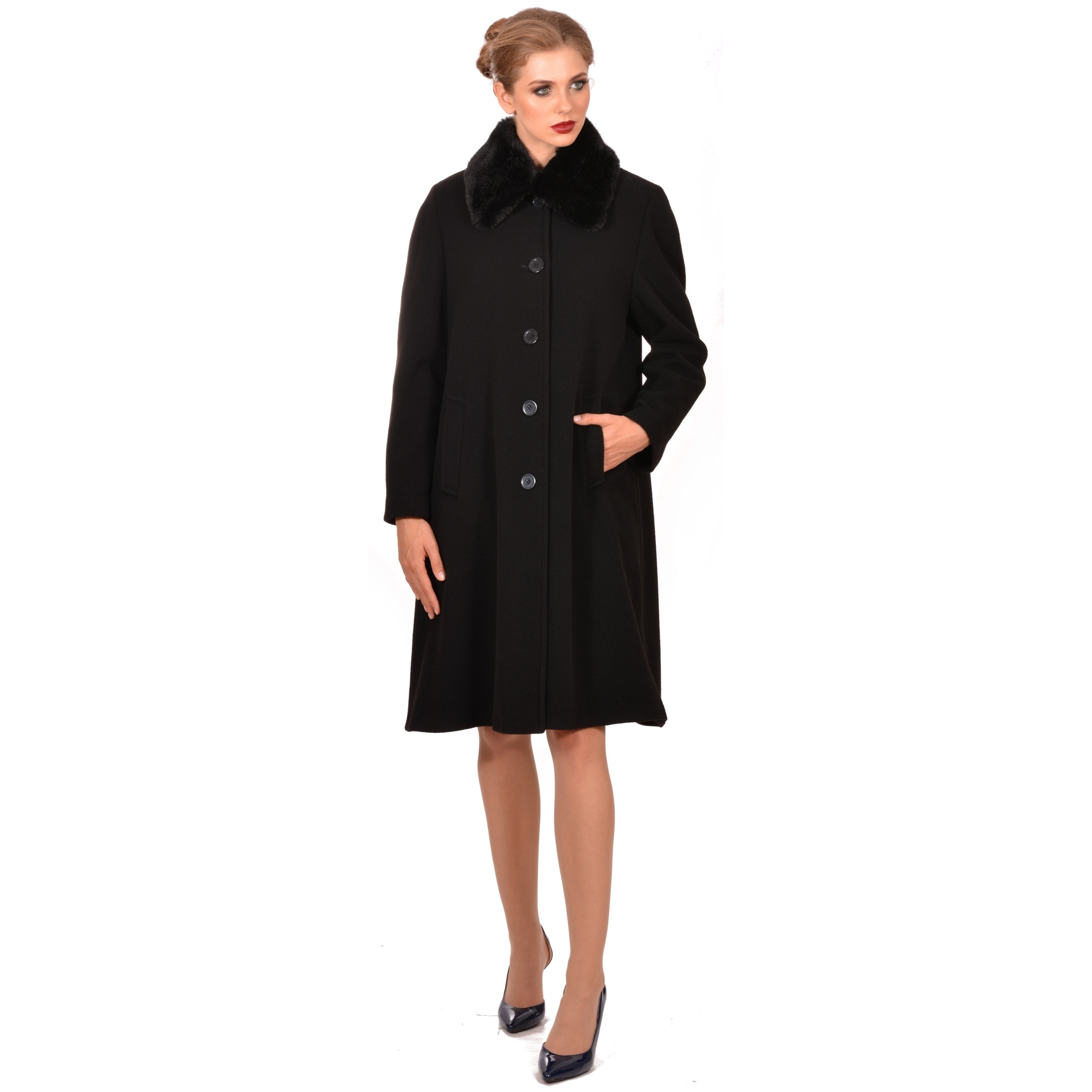 lady m women's black classic knee-long coat, lady m klasični ženski kaput