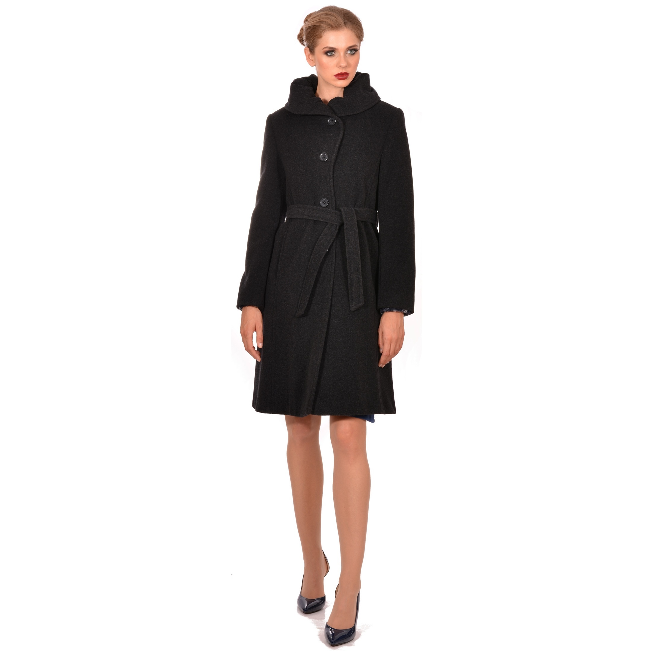 ženski kaput crni lady m, women's coat black woolen
