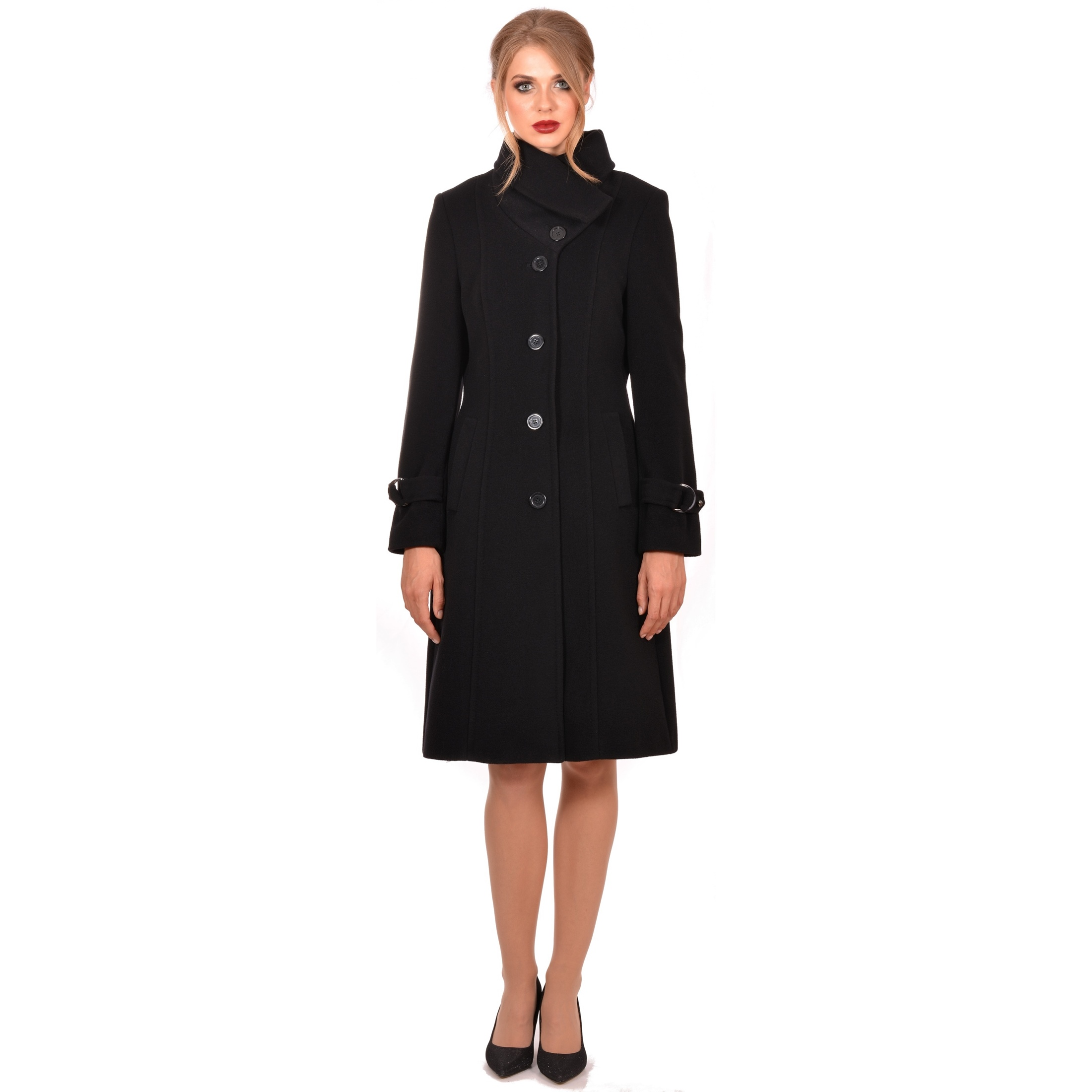 ženski crni kaput lady m,women's coat lady m by maria fashion