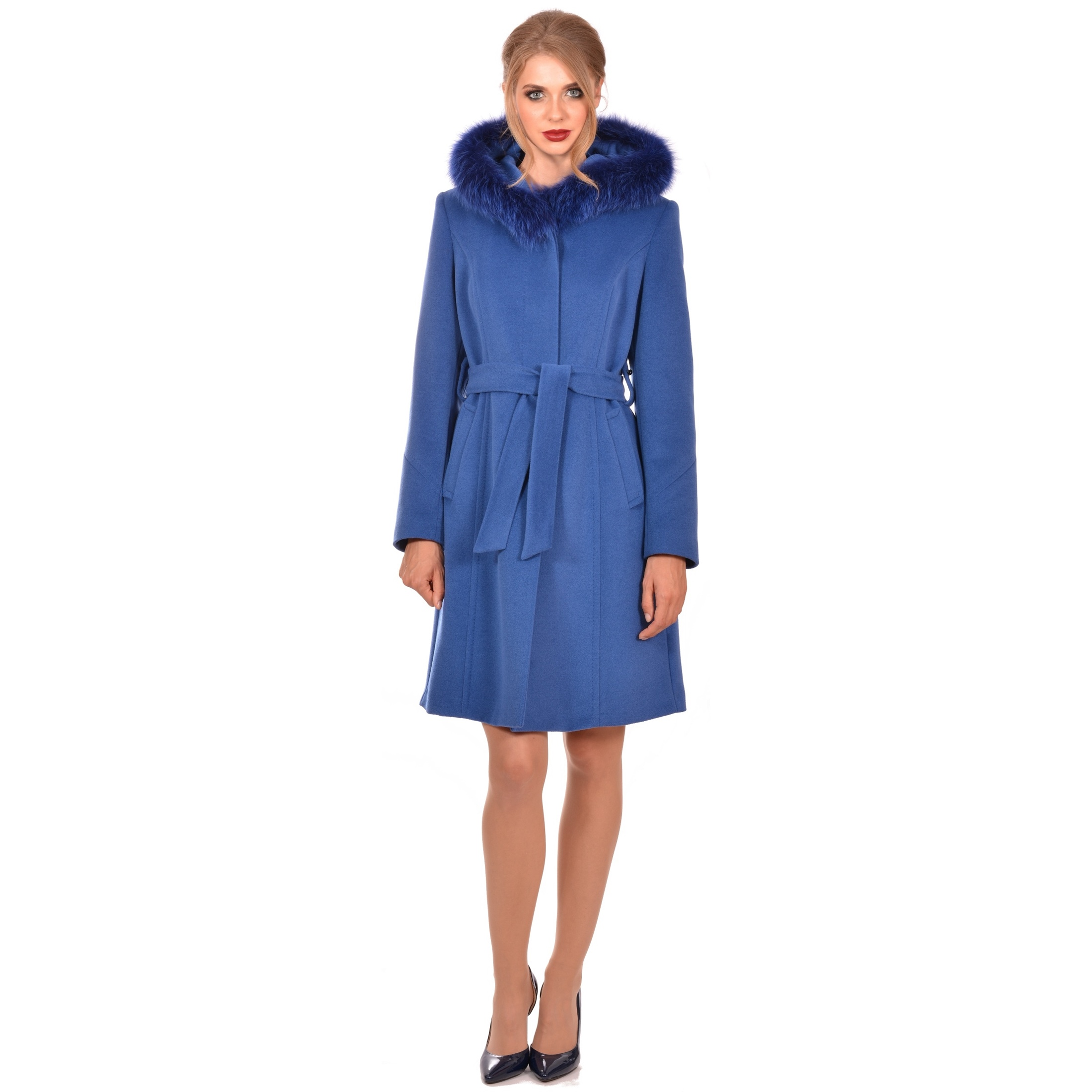 blue wool coat with fur and hood,plavi kaput s kapuljačom lady m