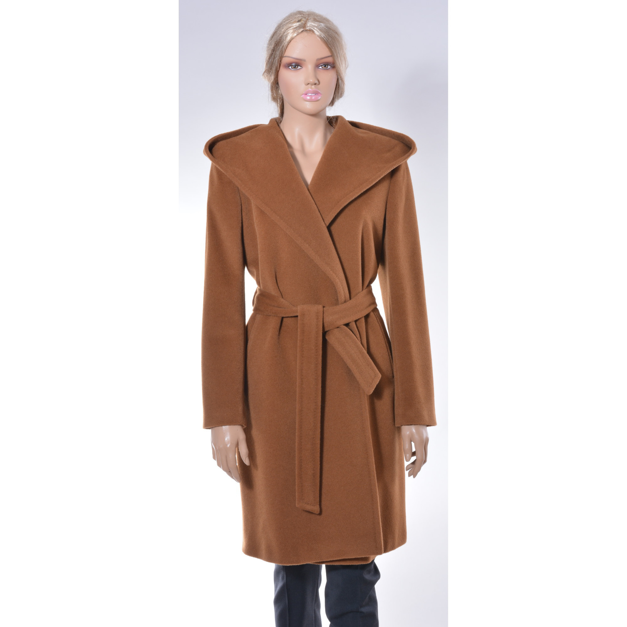 Casual camel coat with hood and belt, timeles coat, high street edition, must have, smeđi kaput,
