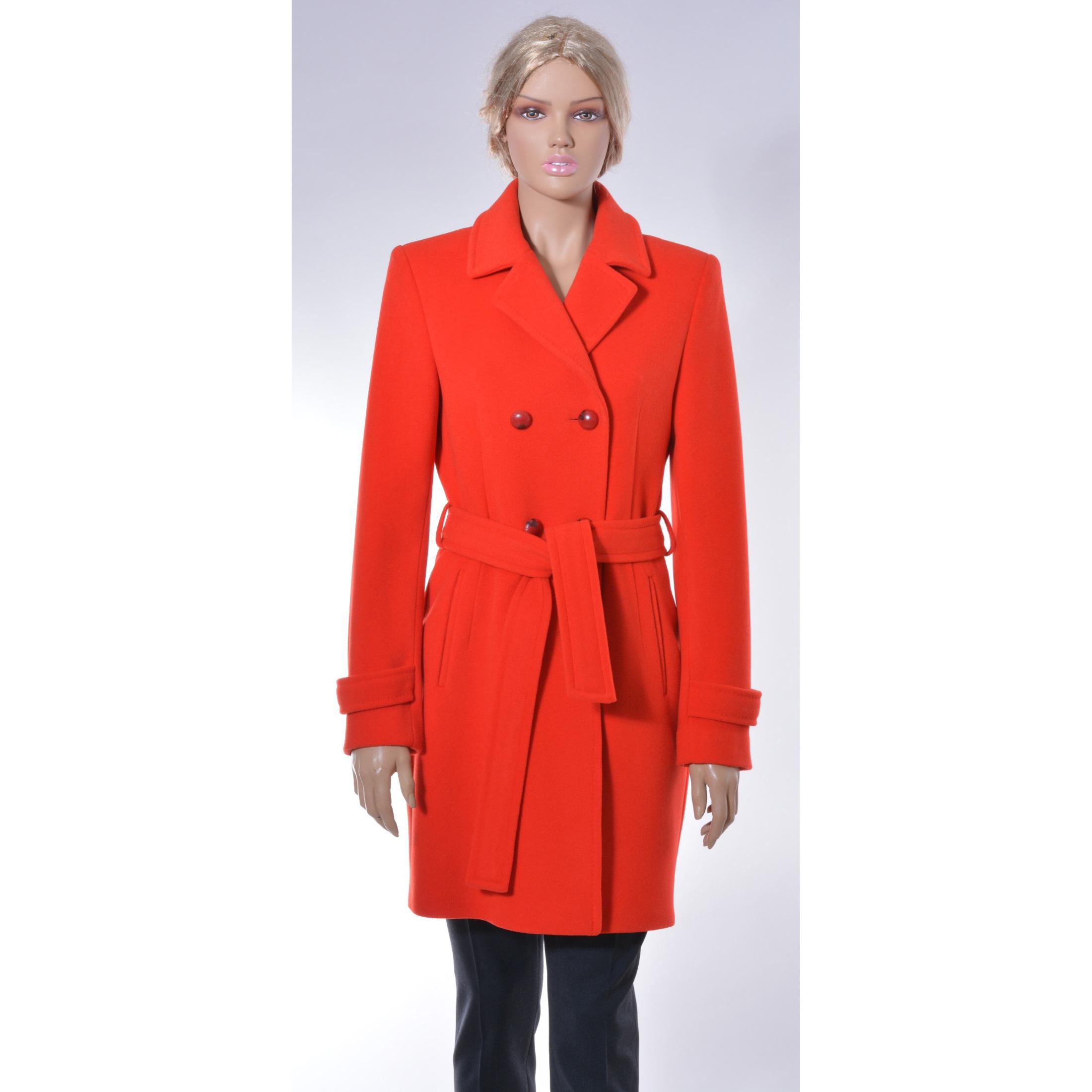 Elegant knee-length coat , red coat, Luxuriant and radiant red coat