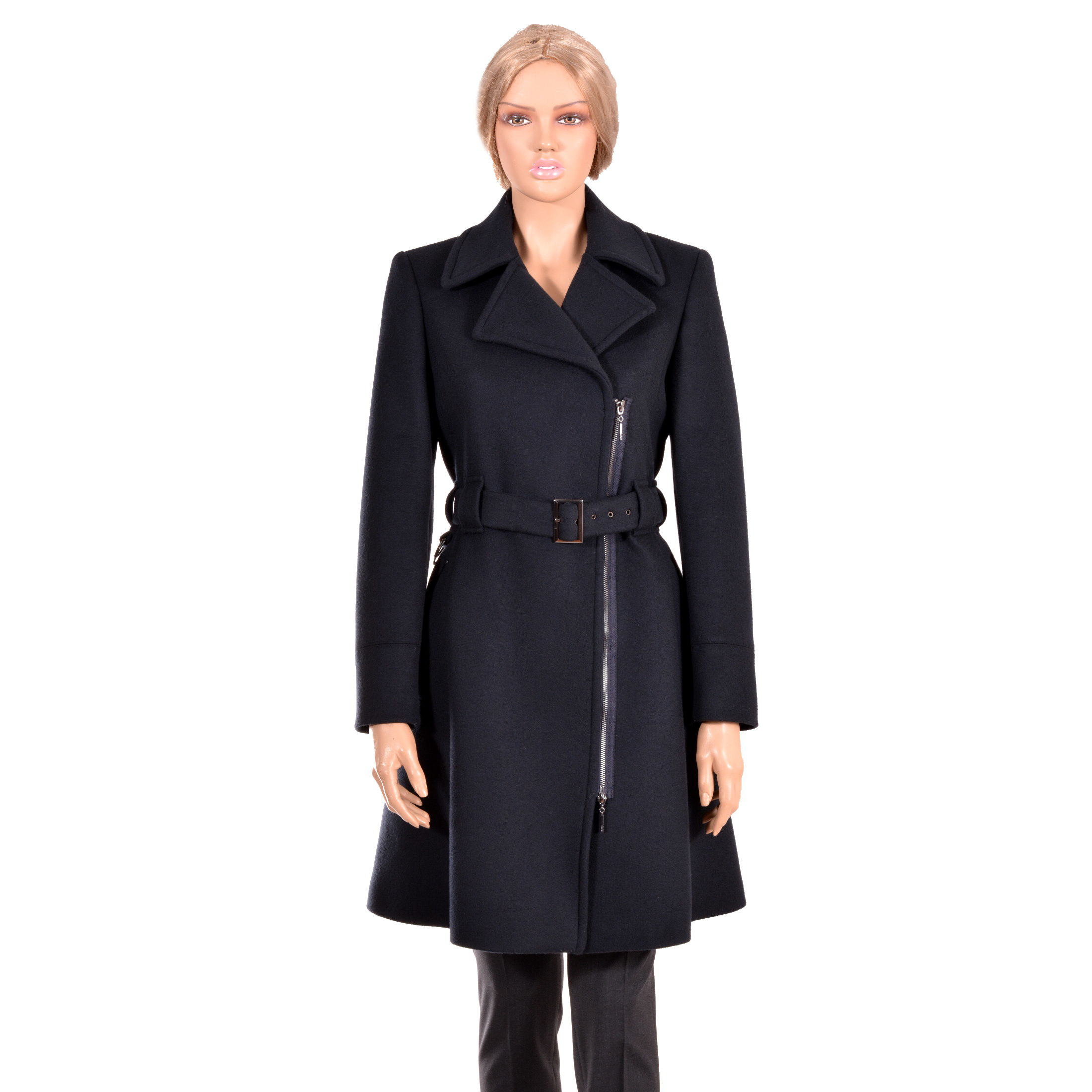 Stylish waisted coat with belt, wide collar, Asymmetrical fastening ,metal zipper