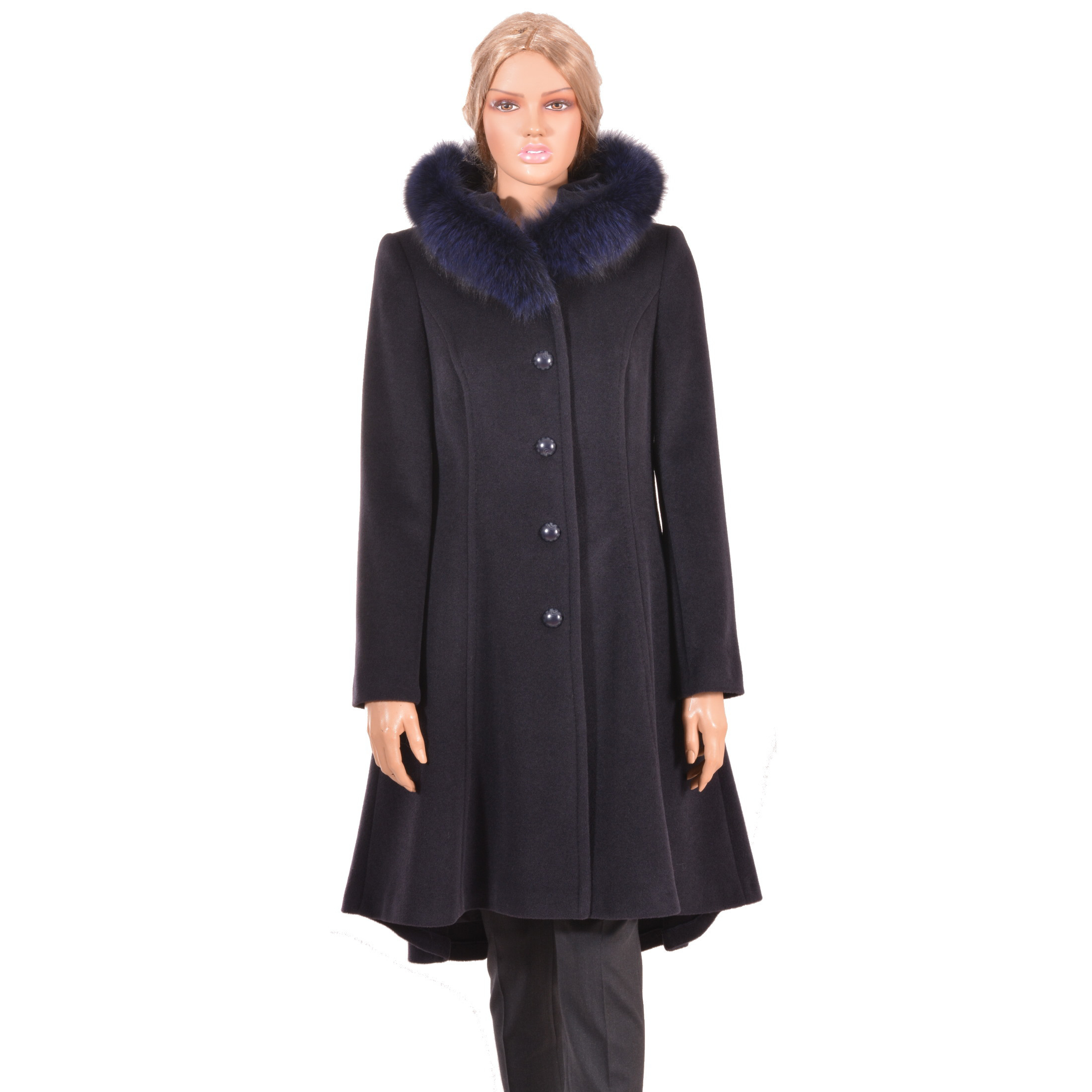 wool coat with fur and hood, plavi kaput s kapuljačom lady m